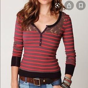 Free People striped Henley with lace neck detail